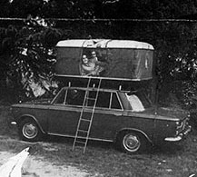 Maggiolina roof tent on the roof of Fiat 1500 sedan (late Sixties). & Original roof top tent since 1958 | Autohome - History
